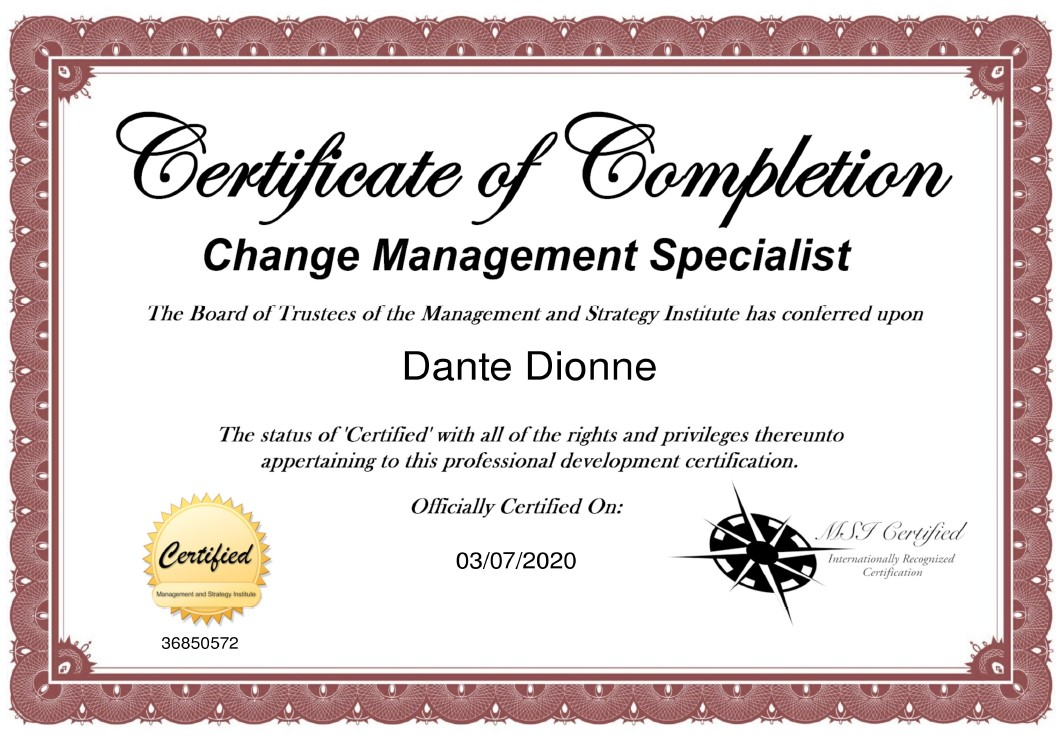 Certified Change Management Specialist (CMS)